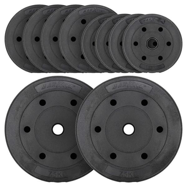 MAXXIVA Hantelscheiben Set Zement 30kg 10 Gewichte schwarz Gewichtsscheiben