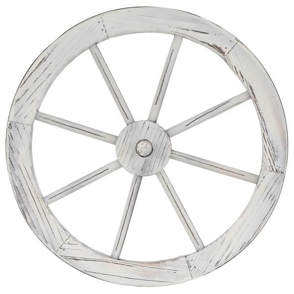 Holzrad whitewash Wagenrad Dekorad Speichenrad Garten-Deko Ladendeko 45 cm