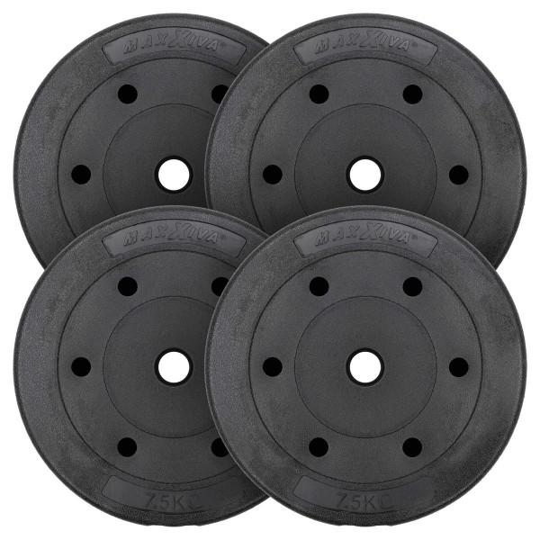 MAXXIVA Hantelscheiben Set Zement 4x7,5kg Gewichte Schwarz Gewichtscheiben 30 kg