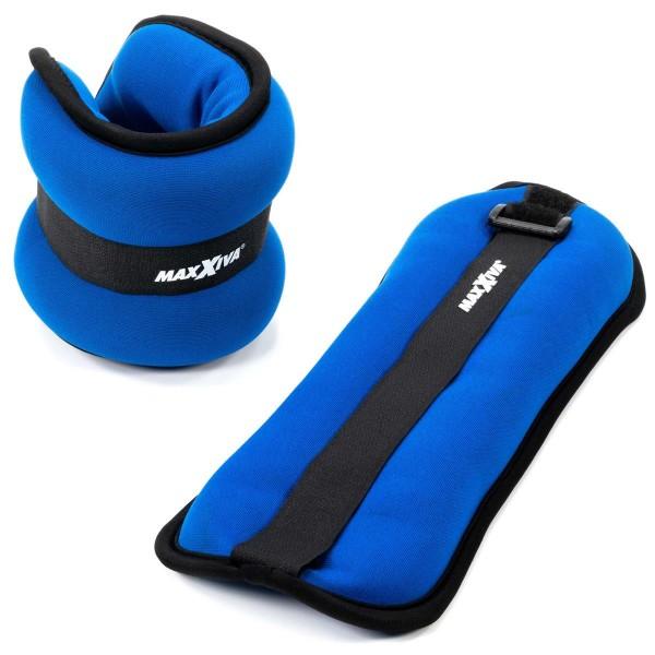 MAXXIVA Laufgewicht Set Blau 2 x 1,0 kg Arme Beine Gewichtsmanschetten