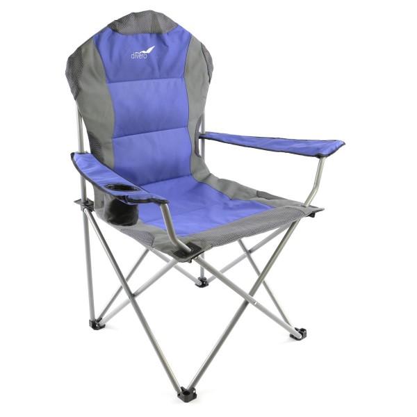 Divero Deluxe Campingstuhl blau grau Faltstuhl Angelstuhl gepolstert