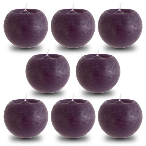 8er Set aubergine Rusti Kugelkerze 8x10 cm Brenndauer ca. 30 Stunden