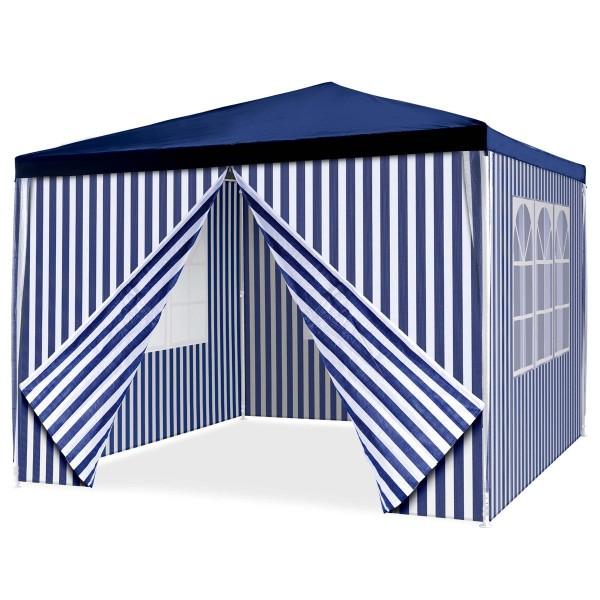 Pavillon Partyzelt 3x3m blau weiß wasserdicht 4 Seitenteile Gartenzelt Eventzelt