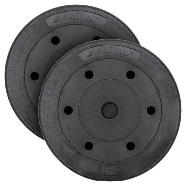 MAXXIVA Hantelscheiben Set Zement 2x7,5kg Gewichte Schwarz Gewichtsscheiben