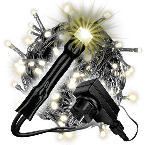 240 LED Lichterkette mit Trafo Timer warm-weiß Außen schwarzes Kabel X-mas