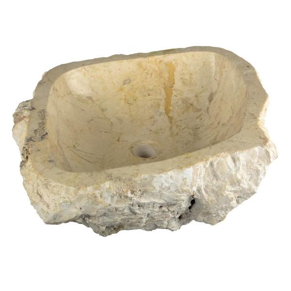 """DIVERO Aufsatzwaschbecken Waschschale """"Tortona"""" Marmor oval sand 35x45cm"""