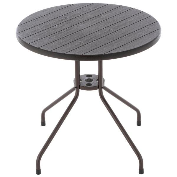 Bistrotisch runder Tisch im Holz Design braun Ø 80 cm Höhe Gartentisch Esstisch