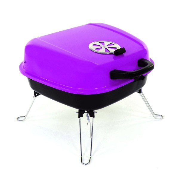 Koffergrill Holzkohlegrill BBQ Partygrill Minigrill lila Barbecue