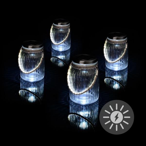 Solarglas 4er Set je 3 LED weiß mit Aufhänger Glas Gartenbeleuchtung