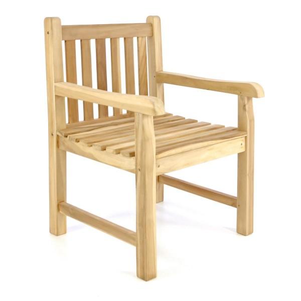 DIVERO Gartenstuhl Gartensessel Landhaus Teak Holz unbehandelt stilvoll