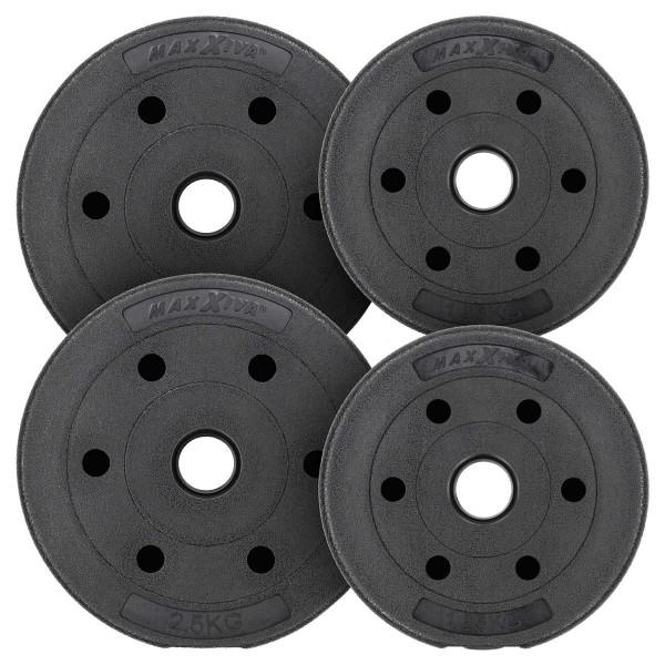MAXXIVA Hantelscheiben Set Zement 7,5 kg 4 Gewichte schwarz Gewichtsscheiben