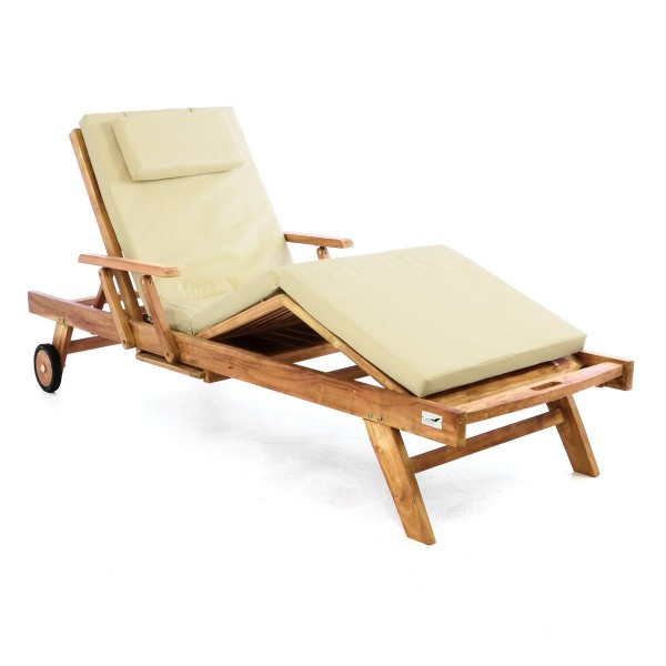 DIVERO Sonnenliege Gartenliege Tablett Teak Holz behandelt Auflage creme
