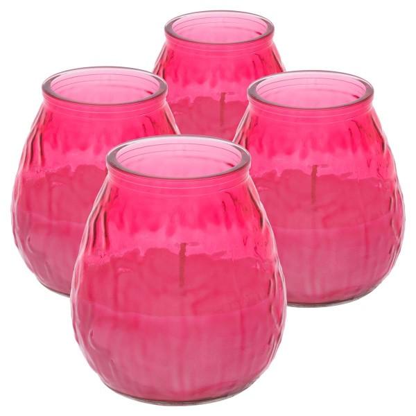4er Set Bistro Licht pink Kerze 10 cm Brenndauer ca. 46h Outdoor Windlicht