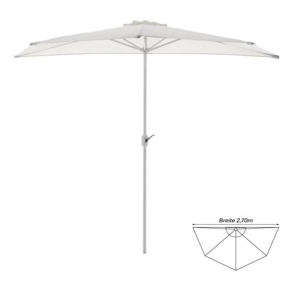 Balkon-Sonnenschirm weiß halbrund Gartenschirm Sonnenschutz 2,7m mit Kurbel