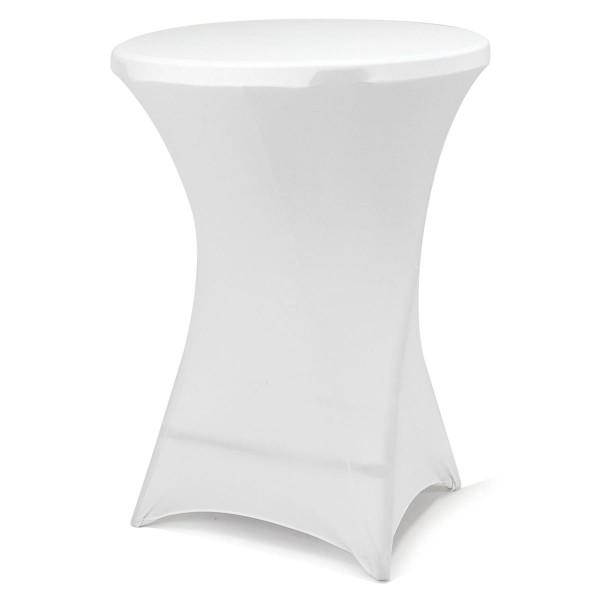 Husse für Stehtisch Stretch 80 x 80 x 110 cm weiß Tischschutz Stoffbezug