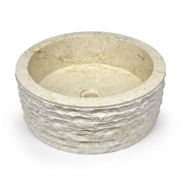 """DIVERO Aufsatzwaschbecken Waschschale """"Roma"""" Marmor rund weiß Ø 40cm"""