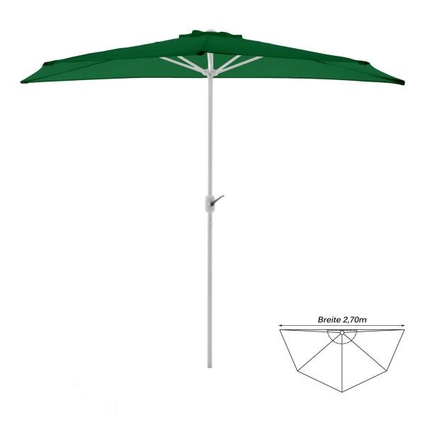 Balkon-Sonnenschirm grün halbrund Gartenschirm Sonnenschutz 2,7m mit Kurbel