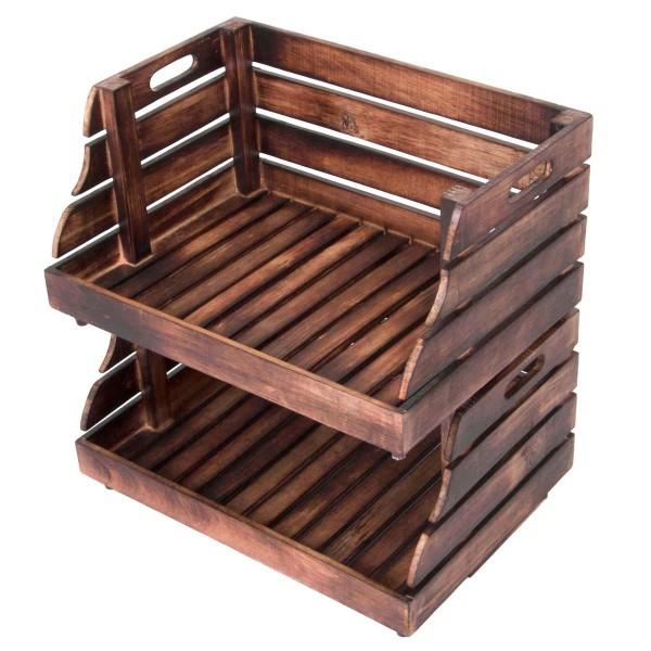 DIVERO 2er Set Holzkiste Stapelkiste Spielzeug Box Stiege Aufbewahrung 49x35