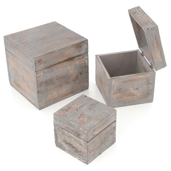 3-teiliges Holzboxen – Set mit Deckel Vintage Look Albacia Wood dunkelgrau