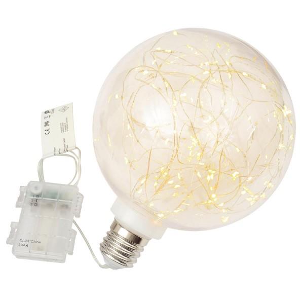 Dekokugel Glühbirne 80 LED warm weiß Ø 20 cm Lichterkugel Batterie Timer
