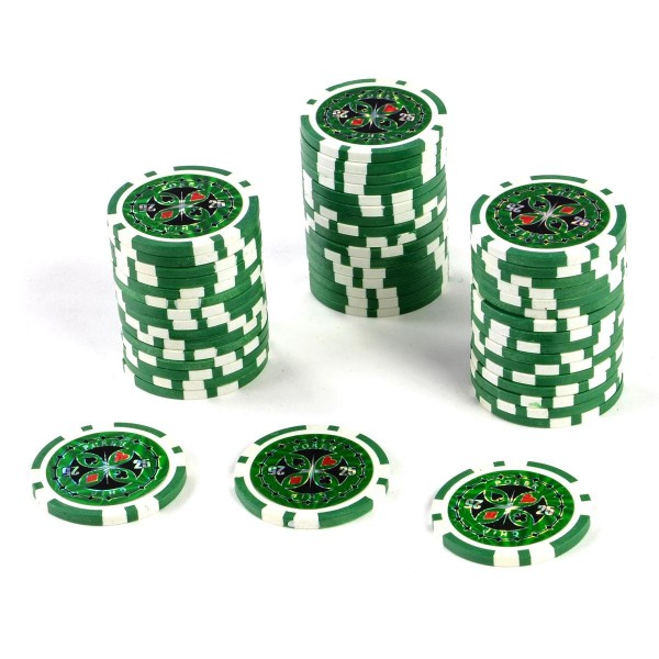 50 Poker-Chips Wert 25 Laserchip 12g Metallkern ergänzend zum Pokerkoffer