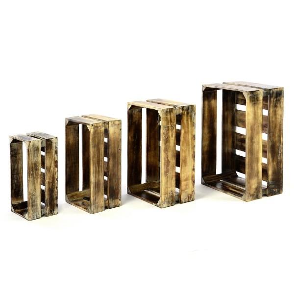 DIVERO 4er Set Vintage Holzkisten Staubox Weinkiste Obstkiste braun 4 Größen