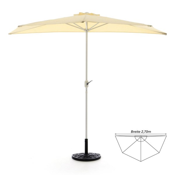 Komplett-Set Balkon Sonnenschirm beige halbrund Schirmständer+ Schirmschutzhülle