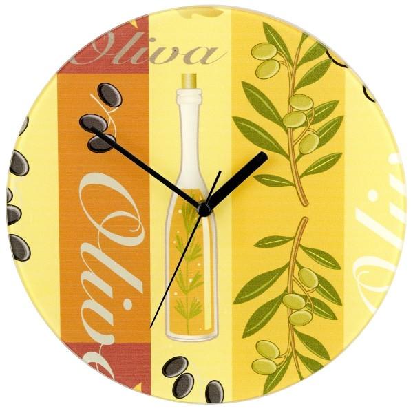 WENKO Wanduhr Design Olive gehärtetes Glas analog 27 cm 25350100 Batterie