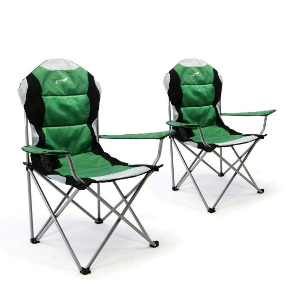Divero 2er Set Deluxe Campingstuhl grün schwarz Faltstuhl Angelstuhl gepolstert