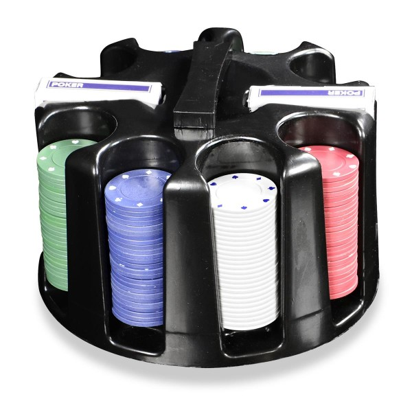 Pokercaddy mit 200 Pokerchips Chip-Karussell Kunststoff Caddy 2 Kartendecks
