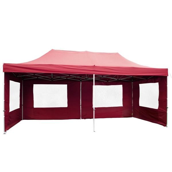 PROFI Faltpavillon Partyzelt 3x6 m burgund mit Seitenteilen wasserdichtes Dach
