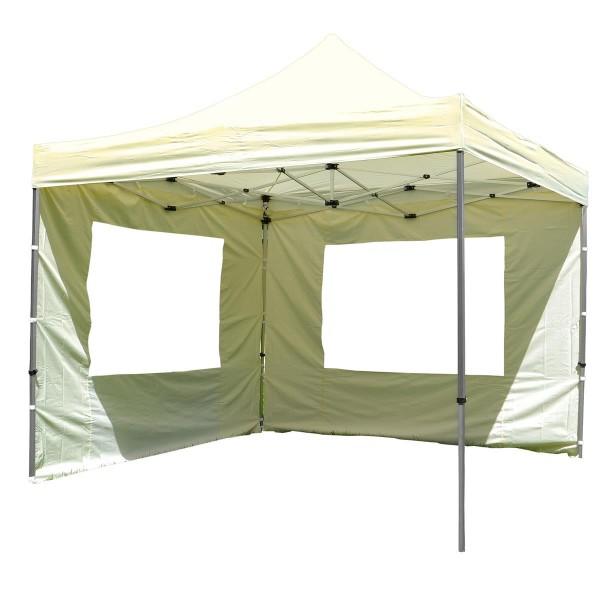 PROFI Falt Pavillon mit 4 Seitenteilen 3x3m champagner wasserdichtes Dach Zelt