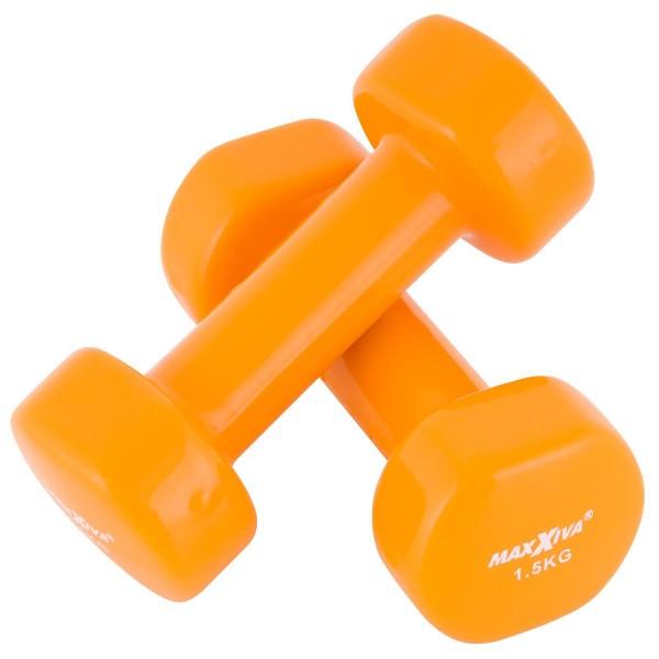 MAXXIVA 2 x 1,5 kg Hantelset Stahl Vinyl Kurzhanteln Fausthanteln Orange Fitnesshantel