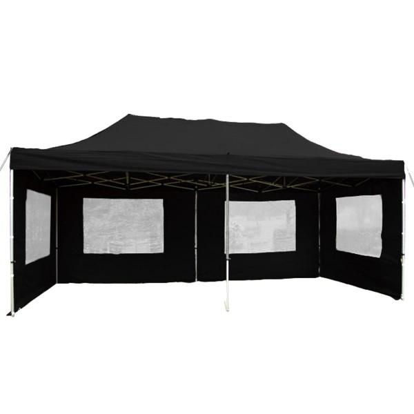 PROFI Faltpavillon B-WARE Partyzelt 3x6 m schwarz mit Seitenteilen