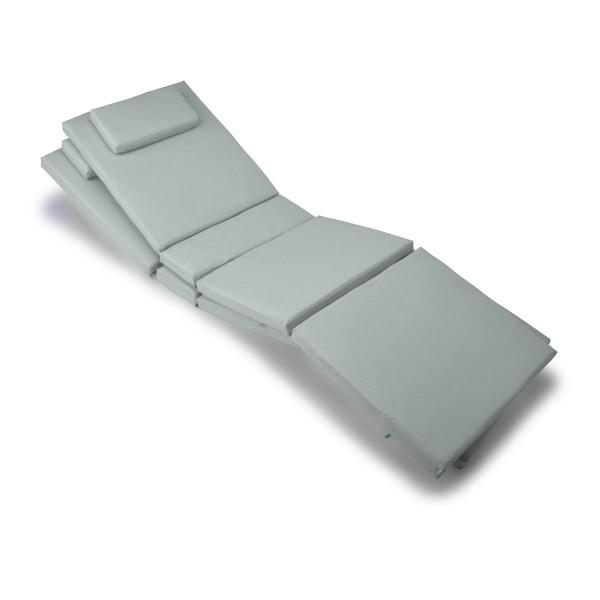 Divero 2x Liegenauflage Polster für Gartenliege 4 Segmente Kopfkissen grau