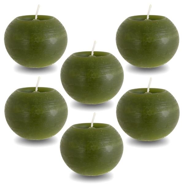 Rusti Kugelkerze 6er Set olivgrün 6,5x8 cm Brenndauer ca. 28 Stunden